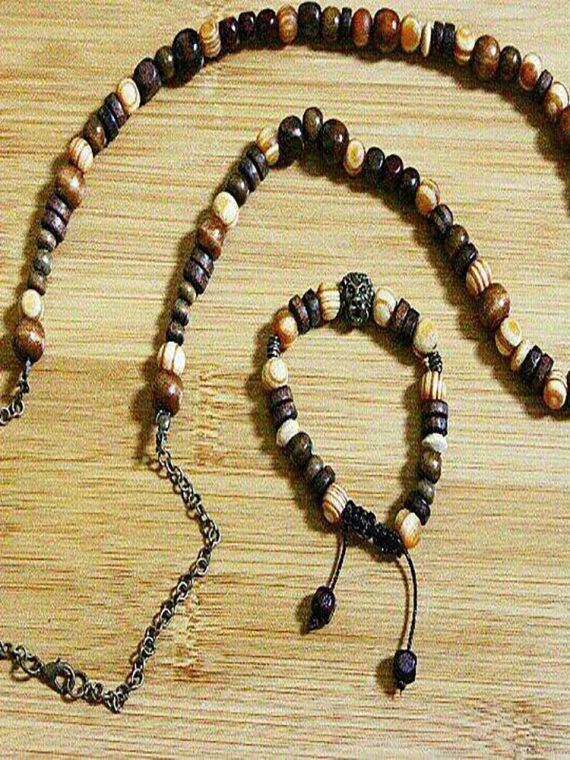 ست دستبند و گردنبند مهره چوبی