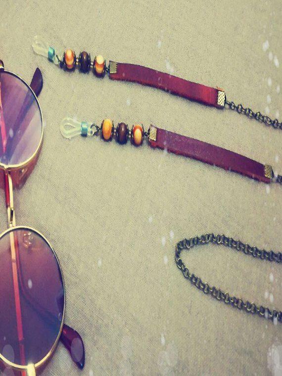 بند عینک دست ساز ترکیبی از چرم طبیعی و مهره چوبی