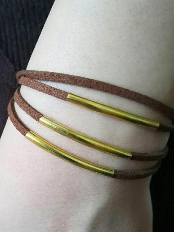 دستبند دست ساز قفلی چرم مصنوعی قهوه ای