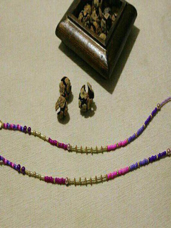 بند عینک دست ساز مهره ترکیب بنفش صورتی طلایی