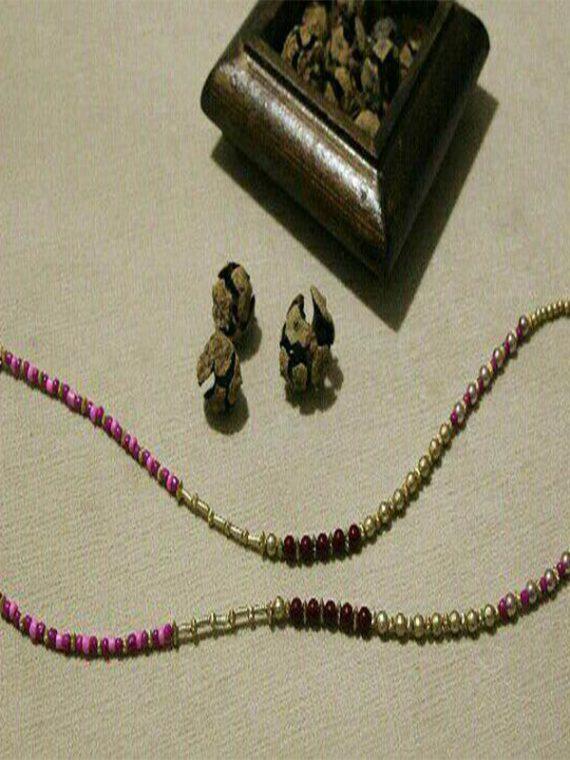 بند عینک دست ساز مهره بنفش و طلایی