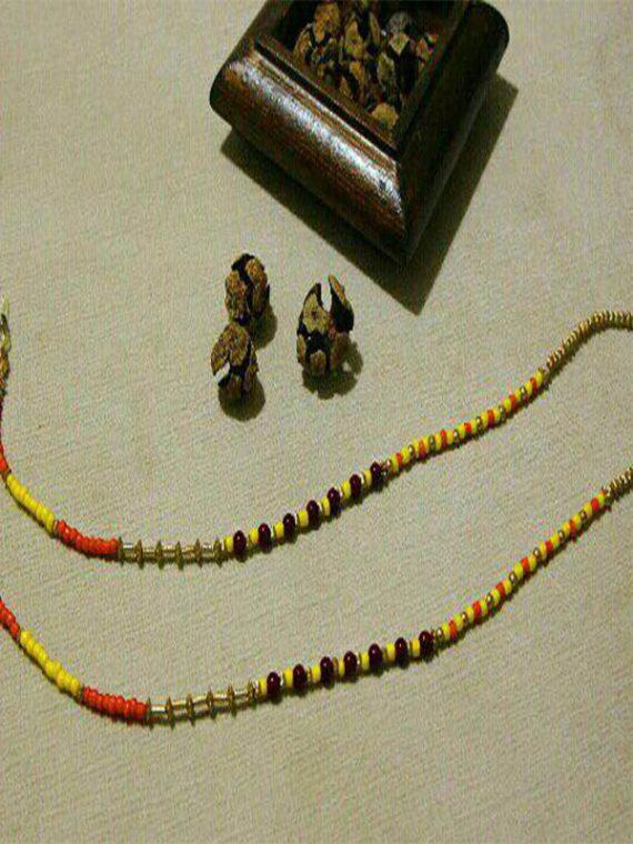 بند عینک دست ساز مهره طلایی بند زرد