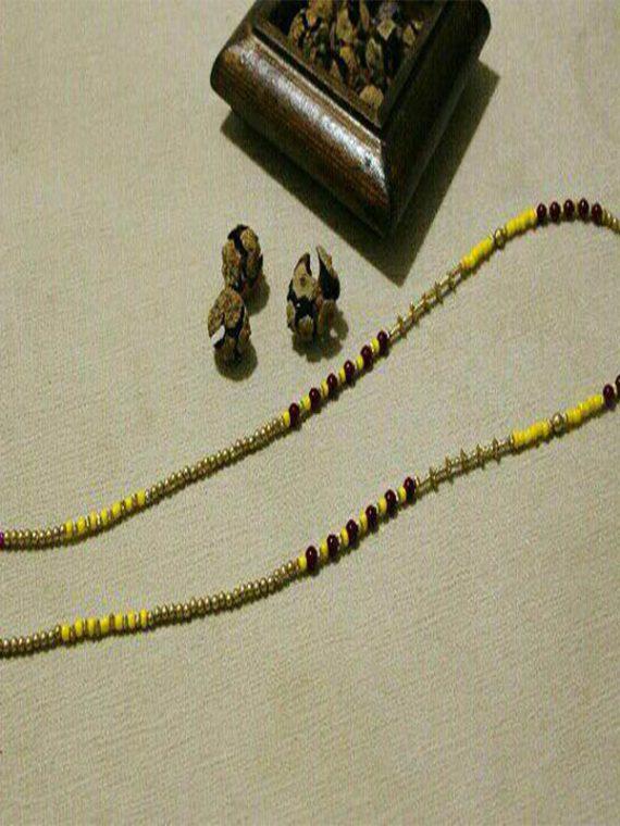 بند عینک دست ساز مهره مصنوعی زرد