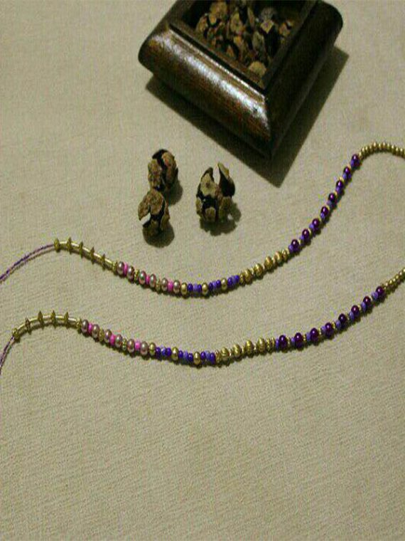 بند عینک دست ساز مهره مصنوعی طلایی لاجوردی